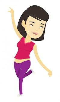 Fröhliche asiatische tänzerin tanzen.