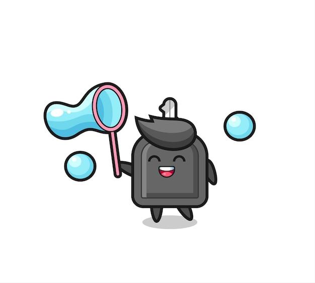 Fröhliche autoschlüsselkarikatur, die seifenblase spielt, niedliches design für t-shirt, aufkleber, logo-element