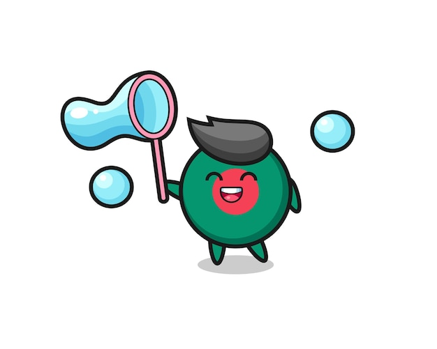 Fröhliche bangladesch-flaggen-abzeichen-karikatur, die seifenblase spielt, niedliches design für t-shirt, aufkleber, logo-element
