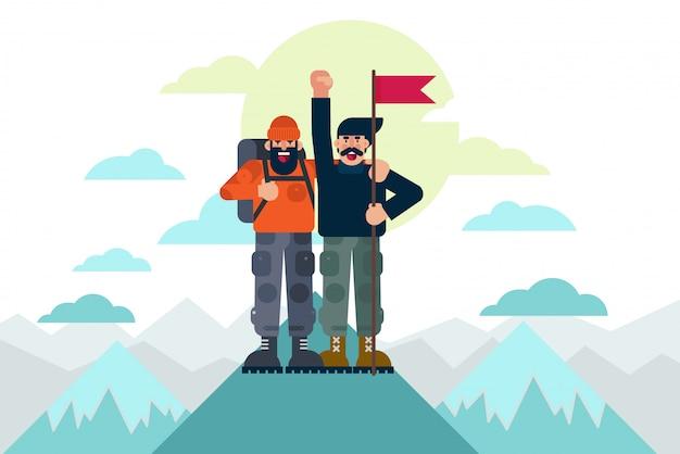 Fröhliche bergsteiger mit flagge feiern erfolg, nachdem sie gemeinsam den berggipfel erreicht haben. erfolgskonzeptvektorillustration