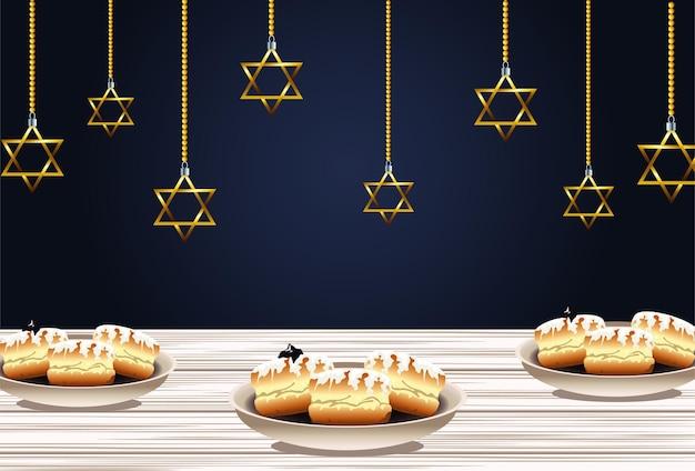 Fröhliche chanukka-feier mit hängenden süßen donuts und goldenen sternen