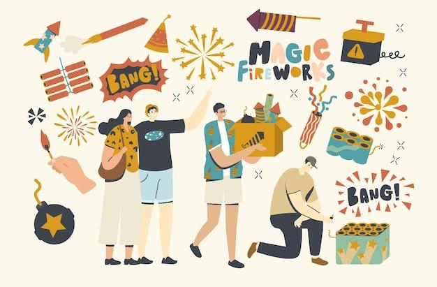 Fröhliche charaktere, die feuerwerk im freien für weihnachts- oder neujahrsfeiern genießen, junger mann tragen box mit petards, brennende dochte, festliche show, feier. lineare menschen-vektor-illustration Premium Vektoren