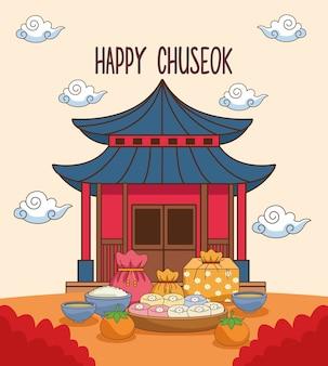Fröhliche chuseok-feier mit chinesischem gebäude und essen