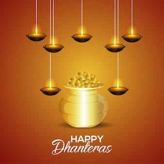 Fröhliche dhanteras-feier-grußkarte mit goldmünzentopf mit diwali diya auf kreativem hintergrund