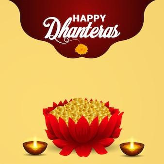 Fröhliche dhanteras indische festivalfeierkarte mit goldmünzentopf