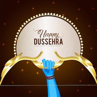 Fröhliche dussehra-feier-grußkarte mit goldenem vektorpfeil und bogen