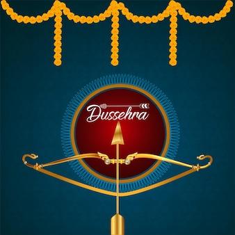 Fröhliche dussehra-feier-grußkarte mit illustration