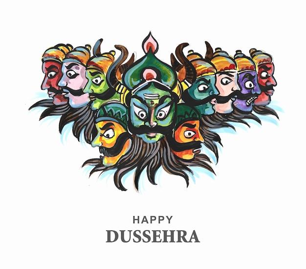 Fröhliche dussehra-feier wütender ravan mit zehn köpfen kartendesign