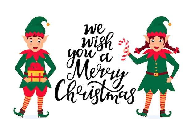 Fröhliche elfen halten einen lutscher und ein geschenk. grußkarte für weihnachten und neujahr.