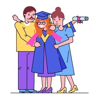 Fröhliche eltern männliche weibliche figur umarmen universitätsabschluss tochter student, glückliche freundliche familie auf weiß, linie illustration.