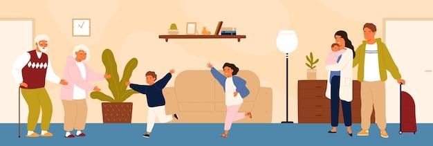 Fröhliche enkel, die ihre großeltern treffen. glückliche familie, die großvater und großmutter besucht