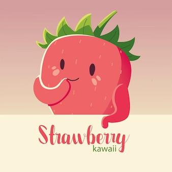 Fröhliche erdbeer- und beschriftungsvektorillustration der frucht kawaii fröhlichen gesichtskarikatur