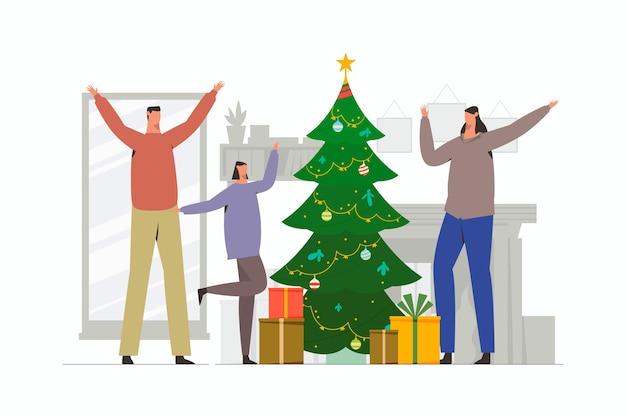Fröhliche familie feiert weihnachten