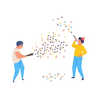 Fröhliche feiernde leute mit flacher konfetti-illustration