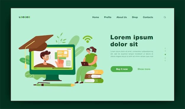 Fröhliche frau, die im internet studiert, webinar auf dem computer sieht, online-kurs belegt. illustration für wissen, bildung, fernunterrichtskonzept-landingpage