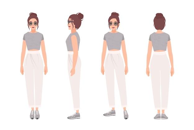 Fröhliche frau gekleidet in stilvolle sportbekleidung. hübsches mädchen in trendigen kleidern und turnschuhen. weibliche zeichentrickfigur isoliert
