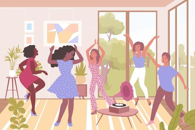 Fröhliche frauen tanzen zur musikwohnung