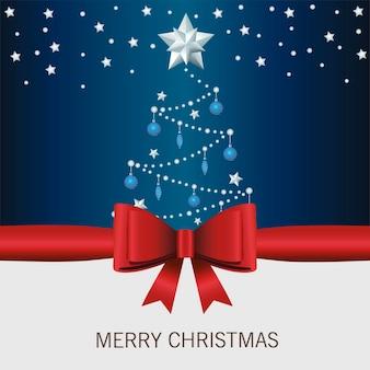 Fröhliche frohe weihnachten-beschriftungskarte mit band- und kiefernillustration