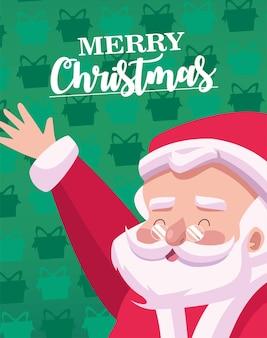 Fröhliche frohe weihnachten-beschriftungskarte mit santa charakterillustration