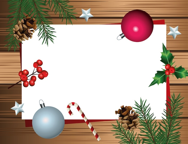 Fröhliche frohe weihnachtskarte mit blättern und kugeln im hölzernen hintergrund