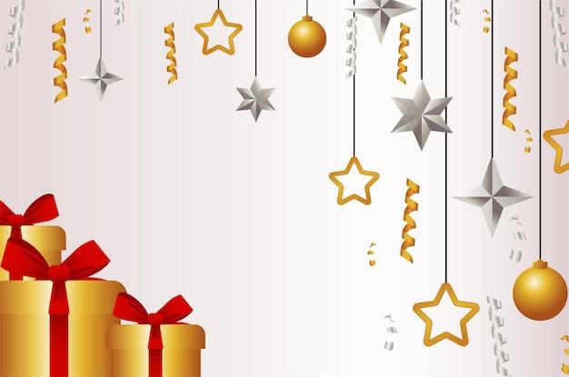 Fröhliche frohe weihnachtskarte mit goldenen geschenken und hängenden illustrationen der kugeln