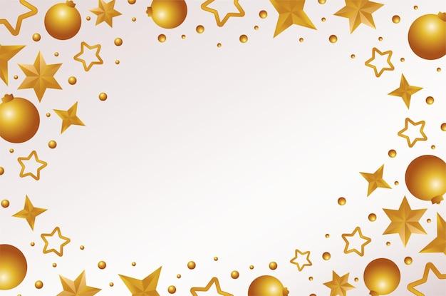 Fröhliche frohe weihnachtskarte mit goldenen sternen und kugeln rahmenillustration