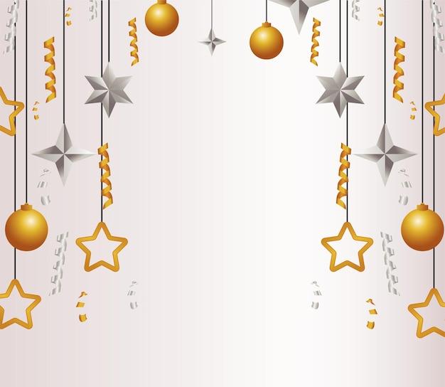 Fröhliche frohe weihnachtskarte mit goldenen und silbernen sternen und kugeln illustration