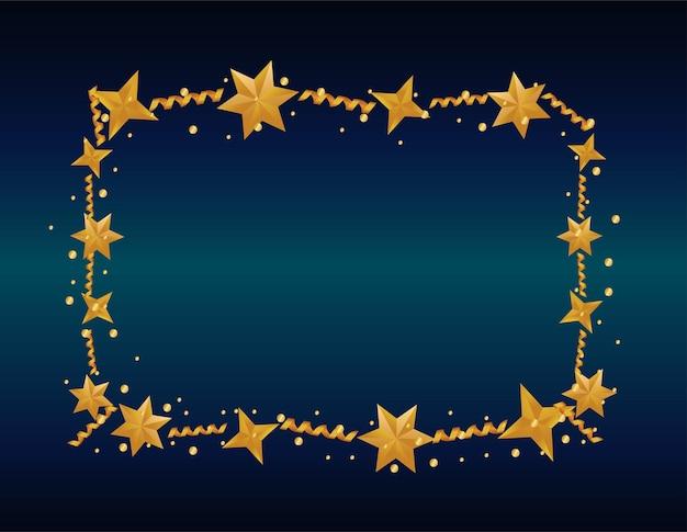 Fröhliche frohe weihnachtskarte mit rahmenillustration der goldenen sterne