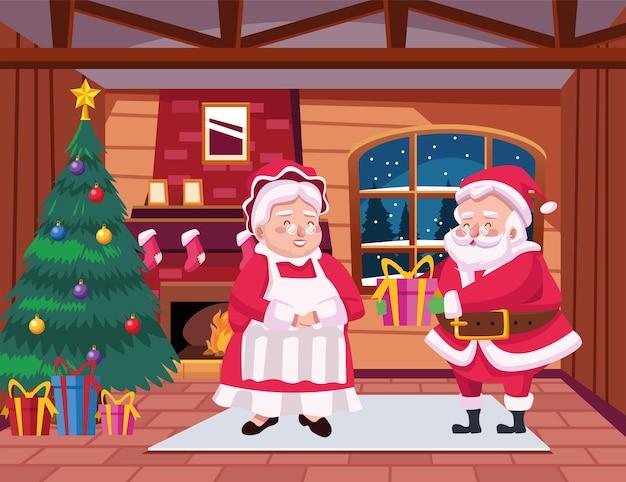 Fröhliche frohe weihnachtskarte mit santa familie in der hausszenenillustration