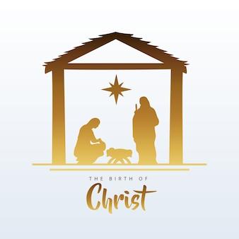 Fröhliche frohe weihnachtskrippe szene mit heiliger familie in stabiler silhouette illustration