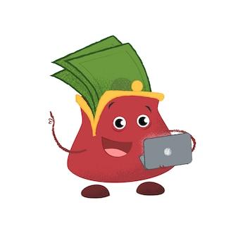 Fröhliche geldbörse mit laptop. spende, cashback, budget.