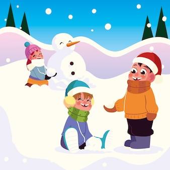 Fröhliche gruppenmädchen und -jungen, die mit schneevektorillustration spielen
