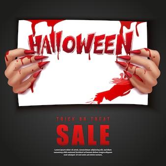 Fröhliche halloween 3d realistische blutige vampirhand, die ein papier hält