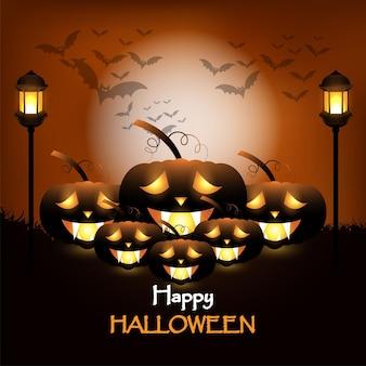 Fröhliche halloween-einladungskarte mit horror-hintergrund