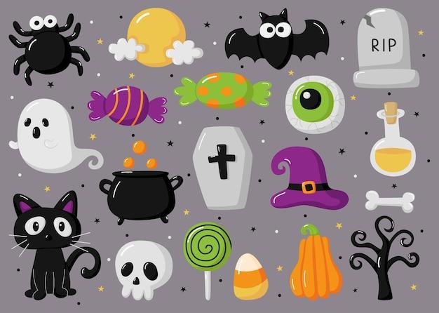 Fröhliche halloween-elemente isoliert auf grauem hintergrund