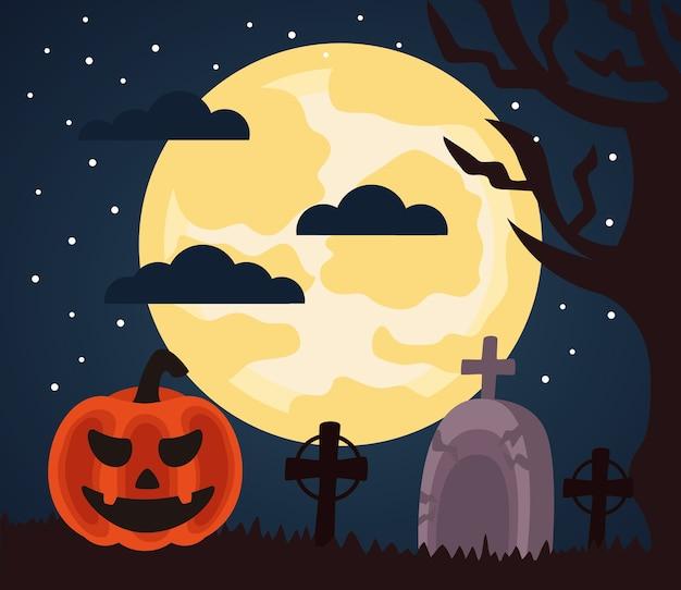 Fröhliche halloween-feier mit kürbis in der friedhofsnachtszene