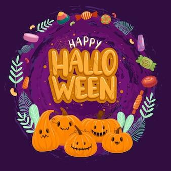 Fröhliche halloween-feier mit kürbis und süßigkeiten