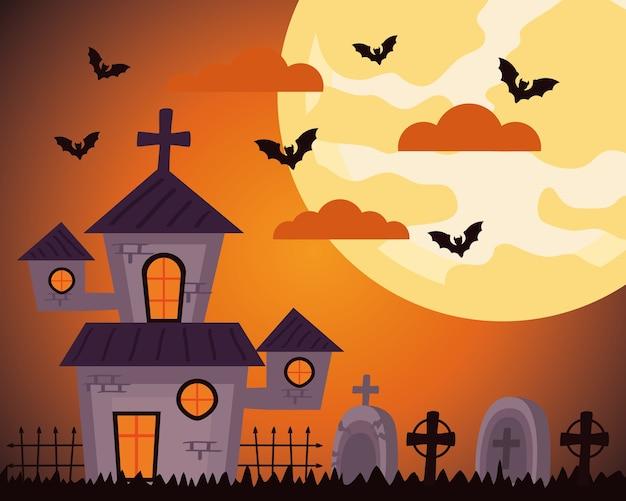 Fröhliche halloween-feier mit spukschloss auf dem friedhof