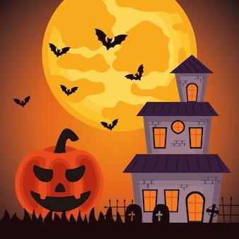 Fröhliche halloween-feier mit spukschloss und kürbis auf dem friedhof