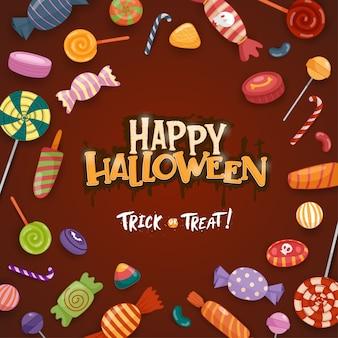 Fröhliche halloween-feier mit süßigkeiten und bonbons