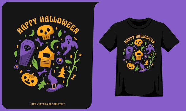 Fröhliche halloween-grafik und t-shirt-design
