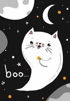 Fröhliche halloween-grußkarte mit geisterkatze und mond, vektorgrafiken