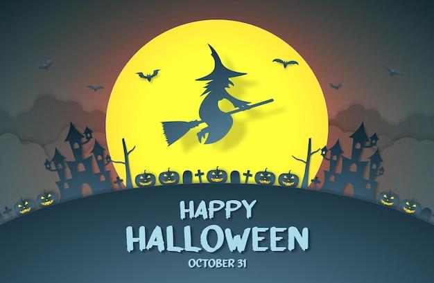 Fröhliche halloween-hexe, die über dem kürbiskopf-schlossfriedhof auf einem hügel mit großem mond und wolke fliegt