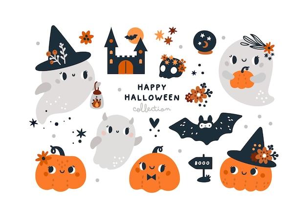 Fröhliche halloween-kollektion mit kürbissen süßen kindischen geistern fledermaus und magischen elementen