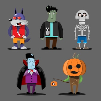 Fröhliche halloween-monstercharaktere
