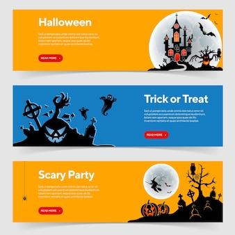 Fröhliche halloween-party-banner mit schloss auf vollmond-hintergrund, zombie, hexe und halloween-kürbissen. vektor-illustration