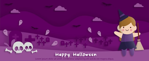 Fröhliche halloween-party im papierkunststil mit kind, das ein hexenkostüm trägt. grußkarten, poster und tapeten. vektor-illustration.