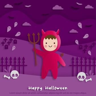 Fröhliche halloween-party im papierkunststil mit kind, das ein rotes teufelskostüm trägt. grußkarten, poster und tapeten. vektor-illustration.