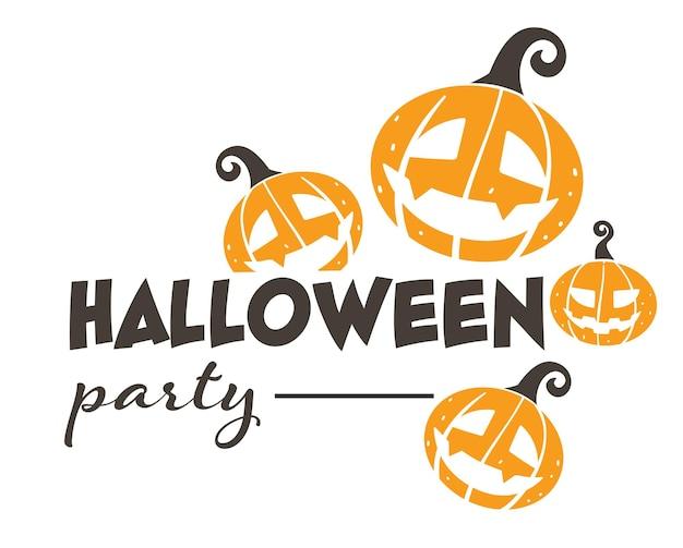 Fröhliche halloween-party, isoliertes banner mit kalligraphischer inschrift und kürbisse mit geschnitztem gesicht. feier des traditionellen feiertags im herbst, jack-o-laterne und text, saisonaler ereignisvektor