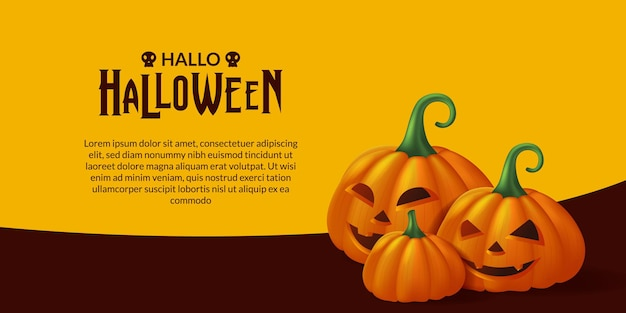 Fröhliche halloween-party mit 3d kürbis jack o laterne dekoration illustration banner vorlage